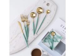 银貂餐具 绿衫军不锈钢刀叉勺 Leon 不锈钢餐具套装