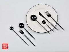 葡萄牙 里昂 镜面 304不锈钢刀叉勺 全黑不锈钢餐具
